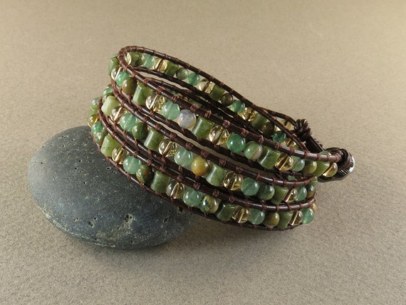 Depression, Happiness & Joy Leather Wrapped Bracelet with Green Aventurine, Rhyolite, Citrine and Jade