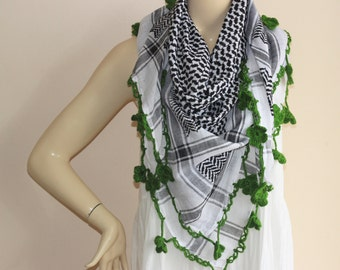 Keffiyeh Scarf -White and  Black Square Scarf with Green  Crochet Flowers