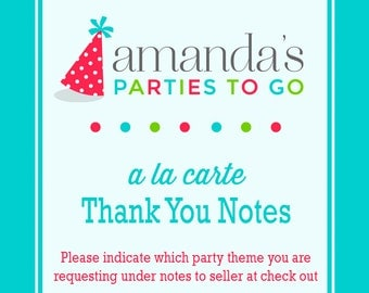Thank You Note Printable | A la Carte Party Single | Amanda's Parties To Go