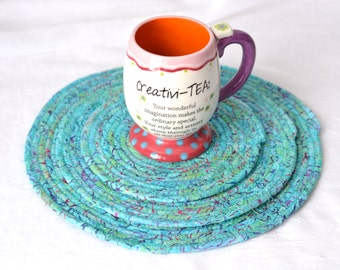 Turquoise Place Mats,  Handmade Aqua Trivets, Shabby Chic Table Mats, Quilted Aqua Hot Pads,  Turquoise Batik Mug Rugs