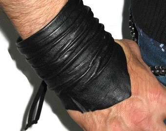 Men's Black Leather Cuff Bracelet Wristband Unisex Handcrafted Jewelry