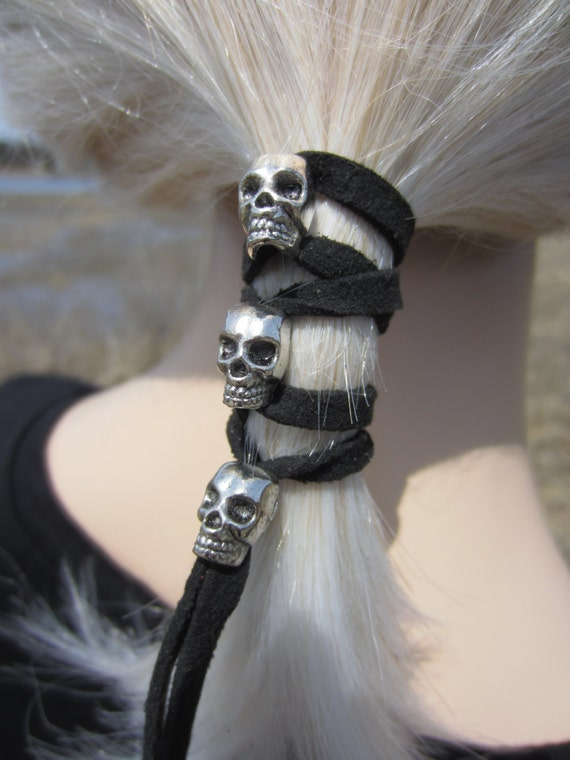 Skull Hair Jewelry Leather Hair Ties Ponytail By Vacationhouse