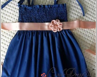 Navy blue dress for girls, Baby navy blue dress, Girls dark blue dress, Navy blue Flower girl dress, Girls Party dress, Blue frilly dress