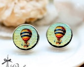 20% off -NEW Unique 3D Embossed  hot air balloon 16mm Round Handmade Wood Cut Cabochon to make Earrings, ,Necklaces, Bracelets-(WG-121)