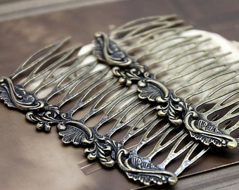 10 Pcs Wholesale Antique Brass Filigree hair comb Setting NICKEL FREE(COMBSS -3)