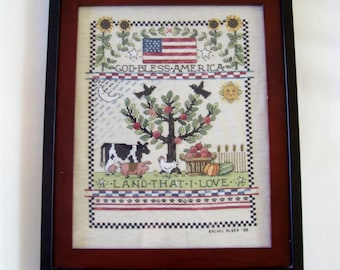 Patriotic Cross Stitch with Country Animals  Finished and Framed - Completed Cross Stitch