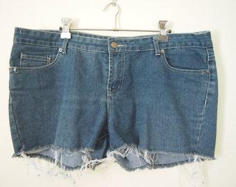 Reinvented OOAK blue cut-off destroyed denim shorts size Large
