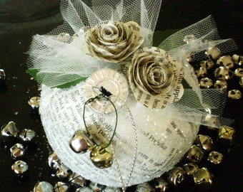 """4"""" Jane Austen Pride and Prejudice (or any book of your choosing) vintage book paper Christmas ornament or wedding favor"""
