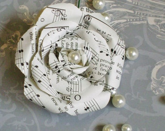 hymnal sheet music paper rose boutonniere buttonhole with faux pearl center for groom wedding decoration recycled