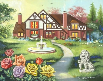 The Alphabet House ILLUSION painting by RUSTY RUST 29x40 oils on canvas / M-362