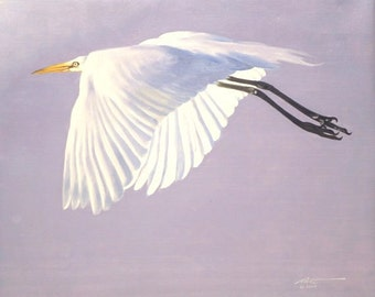 Great White Egret wildlife painting 20x24 oils on canvas by RUSTY RUST / E-93