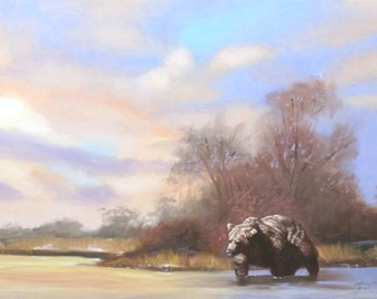Brown Bear, wildlife animal, 24x36 original oils on canvas painting by RUSTY RUST / B-102