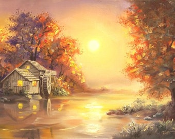 Watermill sunset landscape 24x36 oils on canvas painting by RUSTY RUST / M-272