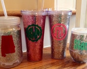 22oz pink glitter sparkle double wall insulated with lid and straw BPA free monogram personalize initial