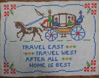 Handmade Vintage Cross Stitch Sampler Picture
