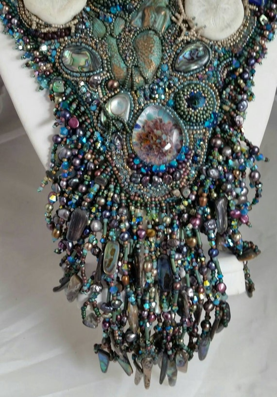 Enchanting Mermaid  Bead Embroidery Necklace: ON SALE  450.00