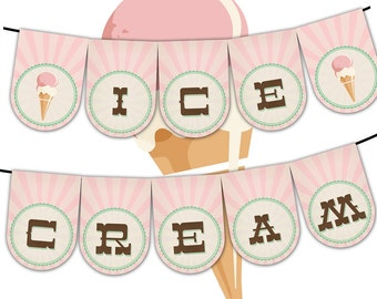 Vintage Ice Cream Parlor Party Banner, Instant Download, Print your own