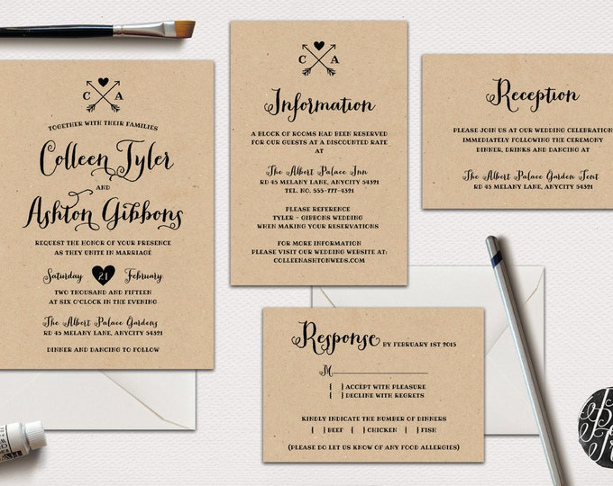 Printable Rustic Wedding Invitation Suite v.1, 4pcs. Set, Calligraphy Style, I will customize for you, You Print