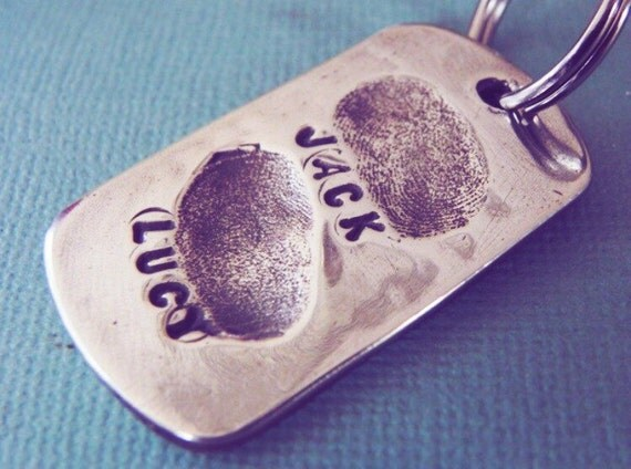 Fingerprint Jewelry Silver Personalized Keychain - Christmas Gift for Dad from Kids