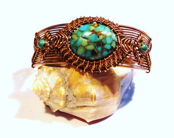 Mosiac Turquoise and Copper Wire Woven Bracelet, Free US Shipping