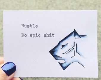 Hustle. Do epic shit. Typewriter Love, Original mixed media watercolour, ACEO size