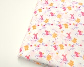 Bunnies & Teddy Bears Print Fabric, Sewing Material, Easter Print Fabric, Tailoring Supplies, 1 yd Remnant