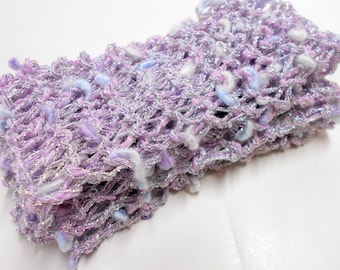 Little Girls Sparkly Lavender Scarf, Toddler Scarves, Photo Prop, Dress Up Clothes, Girls Knit Scarf