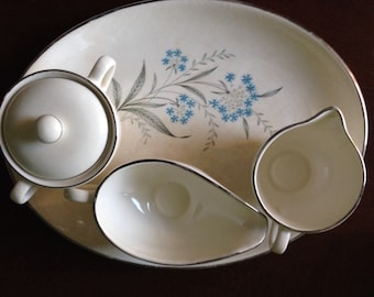 Mid-Century Sabin China Dinnerware Blue Gray Flower 22K Gold Oven Proof