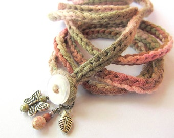 Crochet wrap charm bracelet or necklace in rose and olive, bohemian bracelet, crochet jewelry, spring fashion, coffycrochet