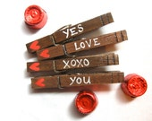 LOVE CLOTHESPINS hand painted rustic wooden clothespin magnets