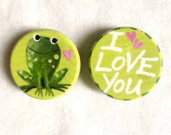 I LOVE YOU MAGNET frog hand painted