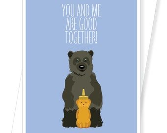 Honey Bear - Love Wedding Anniversary Valentine Card - D185