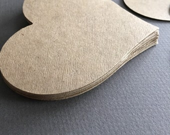"Large Kraft Hearts-Size 4 1/2"" Brown Kraft Chipboard--Wedding Hearts-Rustic Theme"