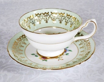 Vintage Tea Cup and Saucer Mint Green  /  Pastel Green Teacup Set  /   Gifts for Mom Bride or Grandmother Wedding