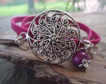 MANDALA Circel wrap bracelet with flower and seed (865)