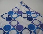 Atomic circle in square print sheer space age fabric panton mod blue purple white vintage polyester 5 yards available
