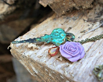 Patina Key and Rose Necklace