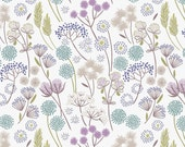 Hedgerow Flowers on White Mist  A57.1 - MAKE A WISH - Lewis and Irene - By the Yard
