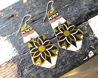 Black, Gold and White  Dangle Earrings-Recycled Tin-Very Lightweight