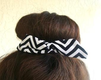 Bun Wrap, Top Knot Wire Wrap Black and White Chevron