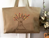 Personalized Tote Bag. Summer Beach Tote. Family Tree Personalized Canvas Tote. Shopping Tote. Mom. Grandma. Mother-in-law. Travel Carry-on.