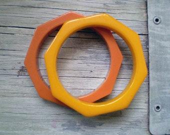 Set of Bakelite Bangles - Rust and Yellow