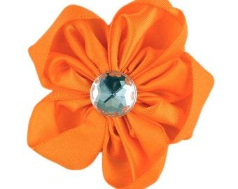 """Orange Satin Flower 2.5"""""""