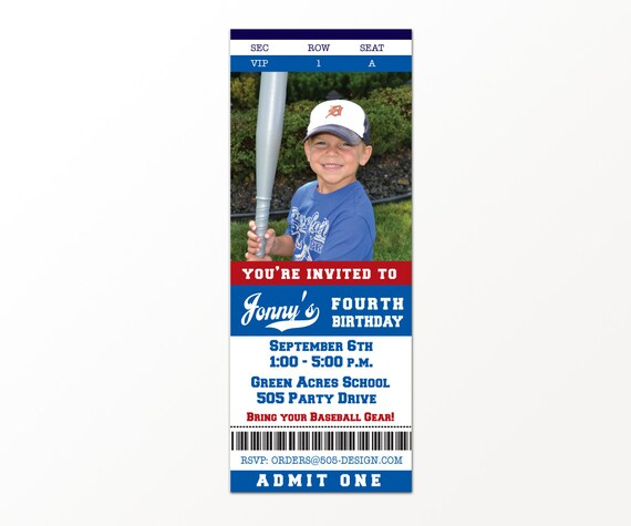 Baseball Ticket Invitation - Printable Baseball Party Invitation