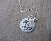 """Mom Necklace, Hand-Stamped Jewelry """"Moms like you are precious & few"""" with an accent bead in your choice of colors"""