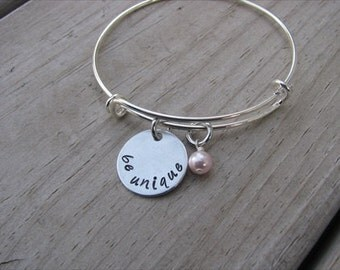 "Inspiration Bracelet- Hand-Stamped ""be unique"" Bracelet with an accent bead in your choice of colors"