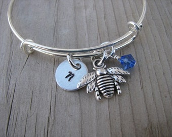 Bee Bangle Bracelet- Adjustable Bangle Bracelet with Hand-Stamped Initial, Bee Charm, and accent bead in your choice of colors