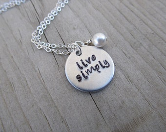 "Live Simply Inspiration Necklace- Hand-Stamped ""live simply"" with an accent bead in your choice of colors"