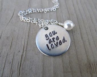 """You Are Loved Inspiration Necklace- """"you are loved"""" with an accent bead in your choice of colors- Hand-Stamped Necklace"""