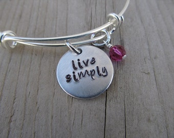 "Inspiration Bracelet- Hand-Stamped ""live simply"" Bracelet with an accent bead in your choice of colors- Inspirational Hand Stamped Bracelet"